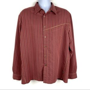 🏔 KUHL Ionik Red Striped LS Button Front Shirt XL